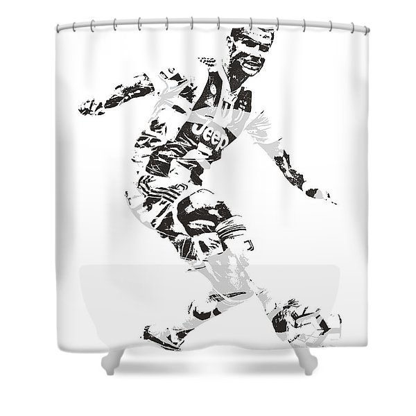 Cristiano Ronaldo Juventus Pixel Art 1 Shower Curtain