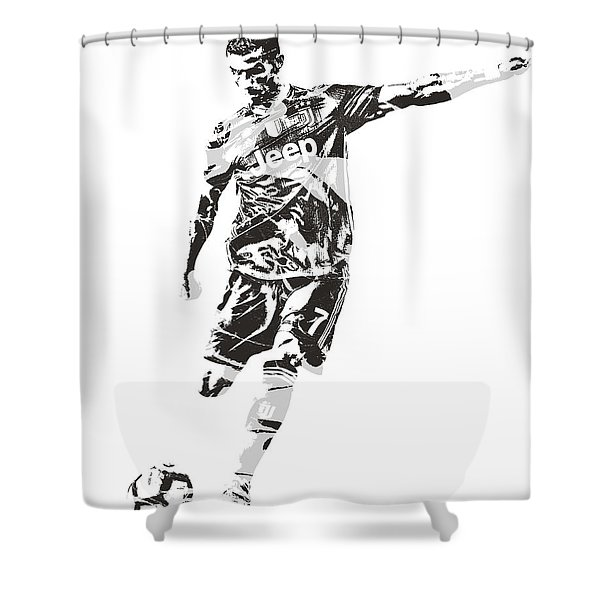 Cristiano Ronaldo Juventus Pixel Art 2 Shower Curtain