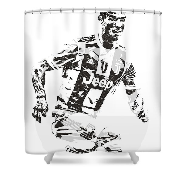Cristiano Ronaldo Juventus Pixel Art 3 Shower Curtain