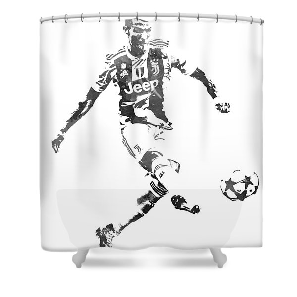 Cristiano Ronaldo Juventus Water Color Pixel Art 1 Shower Curtain