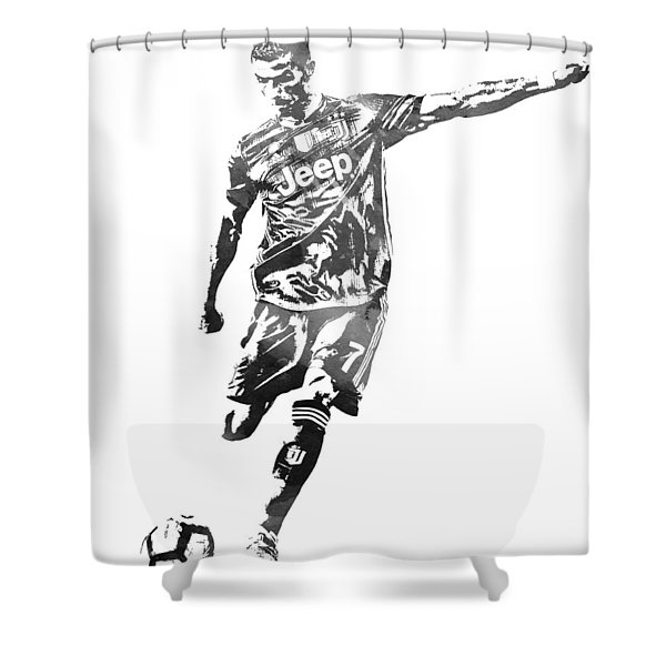 Cristiano Ronaldo Juventus Water Color Pixel Art 2 Shower Curtain