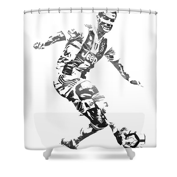 Cristiano Ronaldo Juventus Water Color Pixel Art 3 Shower Curtain