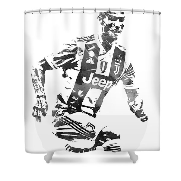 Cristiano Ronaldo Juventus Water Color Pixel Art 4 Shower Curtain