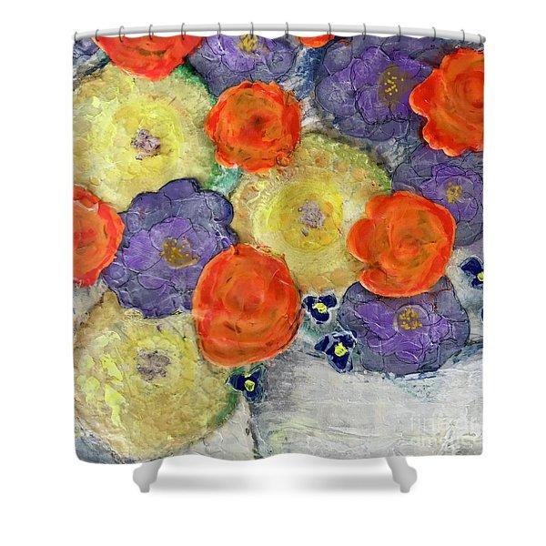 Crochet Bouquet Shower Curtain