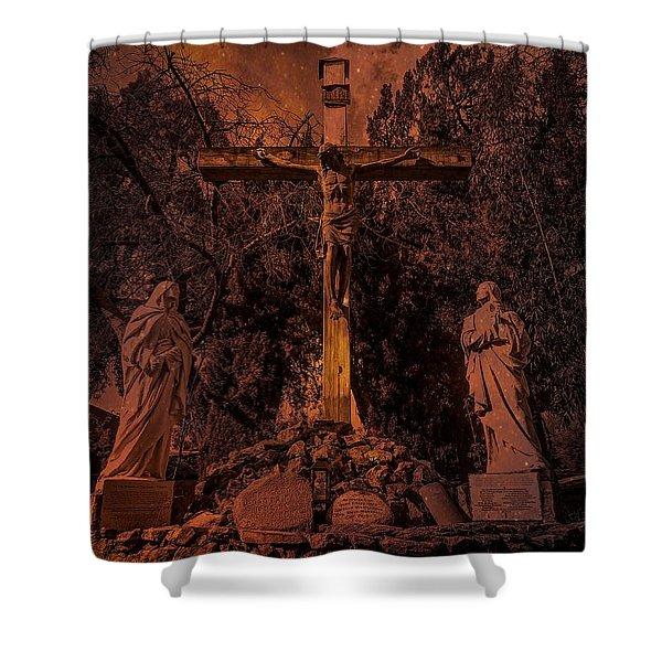 Crucifixion Of Christ By Richard Cuevas Shower Curtain