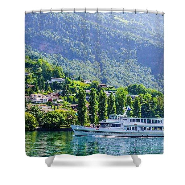 Cruising Lake Lucerne Shower Curtain