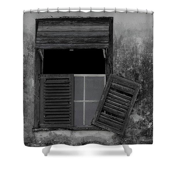 Crumblling Window Shower Curtain