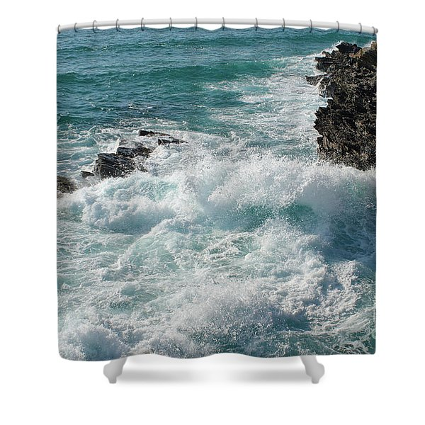 Crushing Waves In Porto Covo Shower Curtain