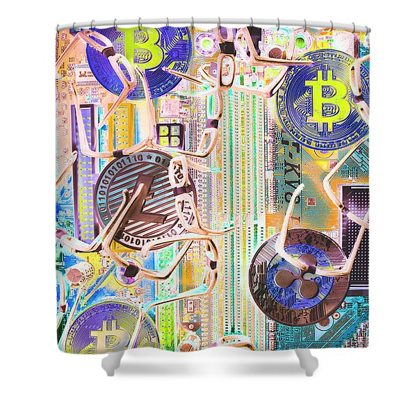 Cryptocurrency Circuitry Shower Curtain