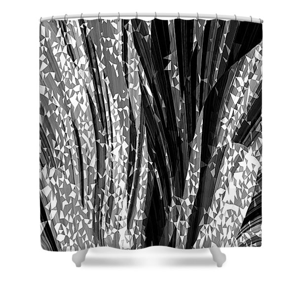 Crystal Floral Black Opposite Shower Curtain