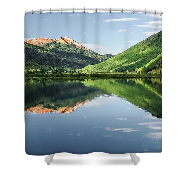 Crystal Lake Red Mountain Reflection Shower Curtain