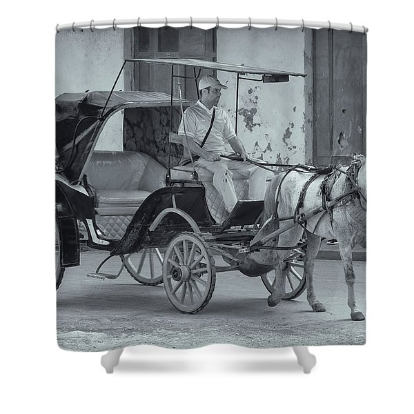 Cuban Horse Taxi Shower Curtain