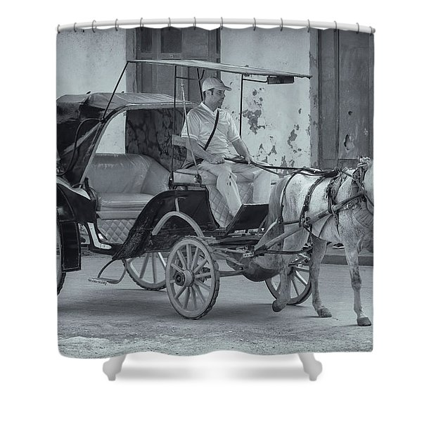 Shower Curtain featuring the photograph Cuban Horse Taxi by Tom Singleton