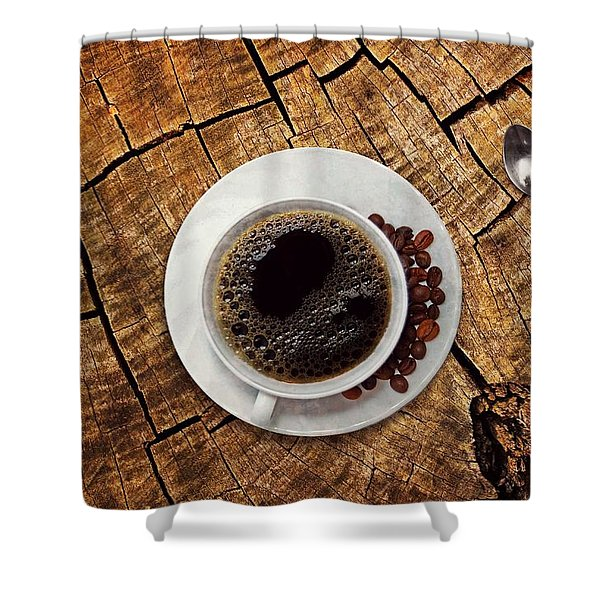 Cup Of Coffe On Wood Shower Curtain