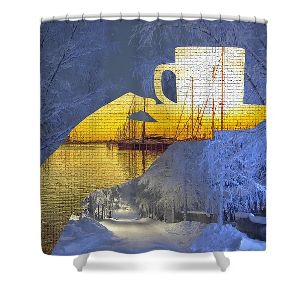 Cup Of Tea In The Winter Evening Shower Curtain
