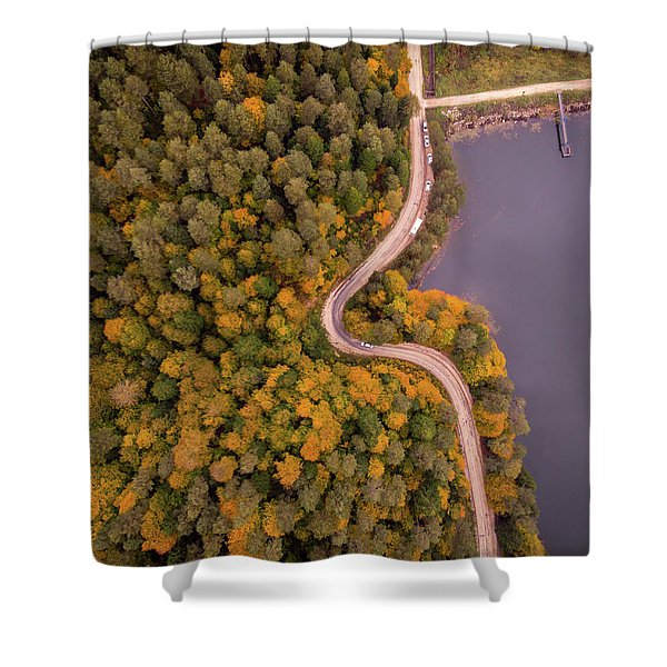 Curved Road At Lakeside Shower Curtain