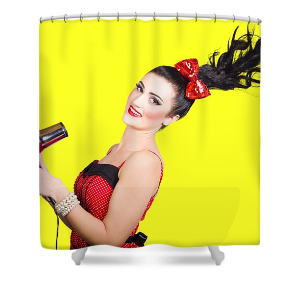 Cute Brunette Retro Woman With Hair Dryer Shower Curtain
