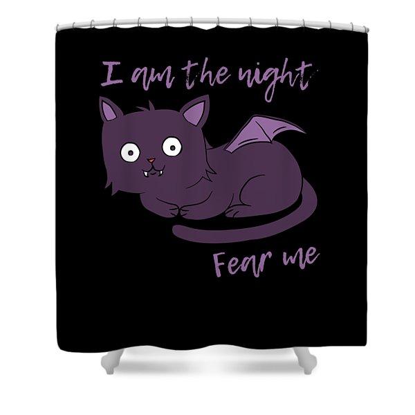 Cute Halloween Cat I Am The Night Fear Me Shower Curtain