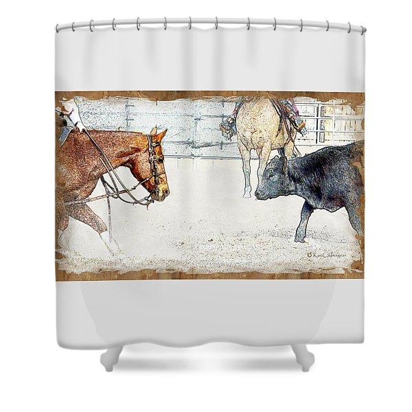 Cutting Horse At Work Shower Curtain