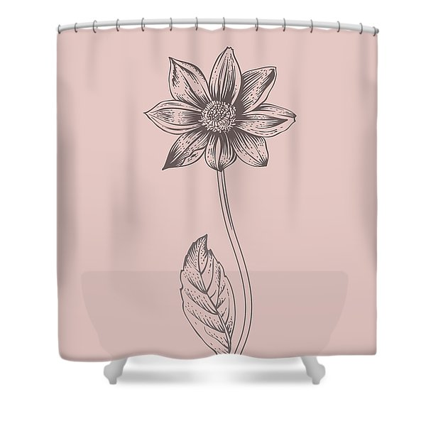 Dahlia Blush Pink Flower Shower Curtain