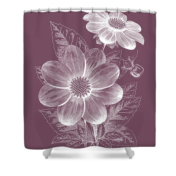Dahlias Purple Flower Shower Curtain