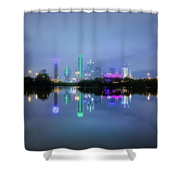 Dallas Cityscape Reflection Shower Curtain