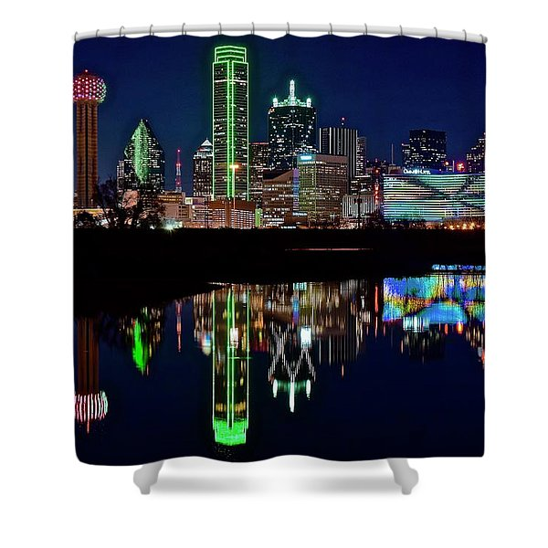 Dallas Reflecting At Night Shower Curtain