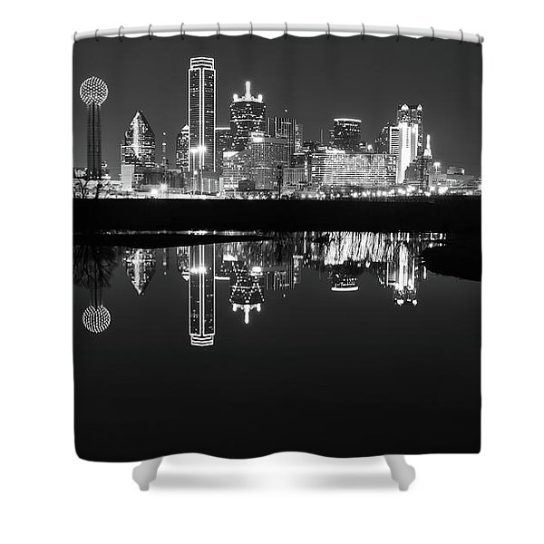 Dallas Texas Cityscape Reflection Shower Curtain