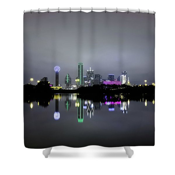 Dallas Texas Cityscape River Reflection Shower Curtain