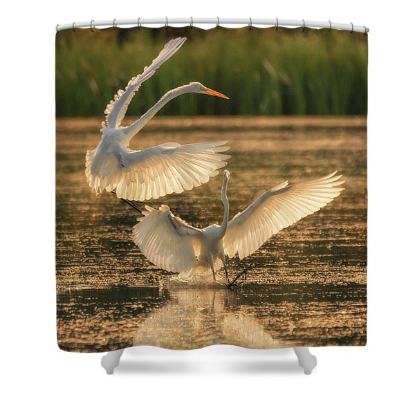 Dancing Egrets  Shower Curtain
