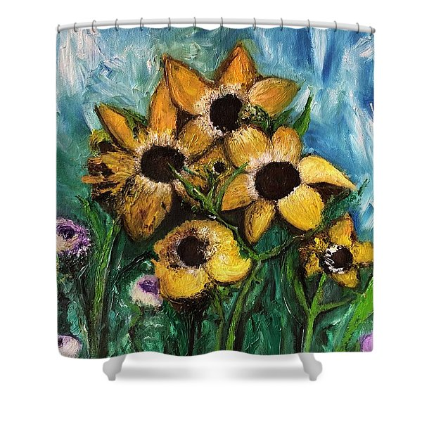 Shower Curtain featuring the painting Dancing Flowers by Laurie Lundquist