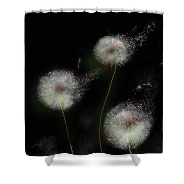 Love Dandelion Wishes Shower Curtain