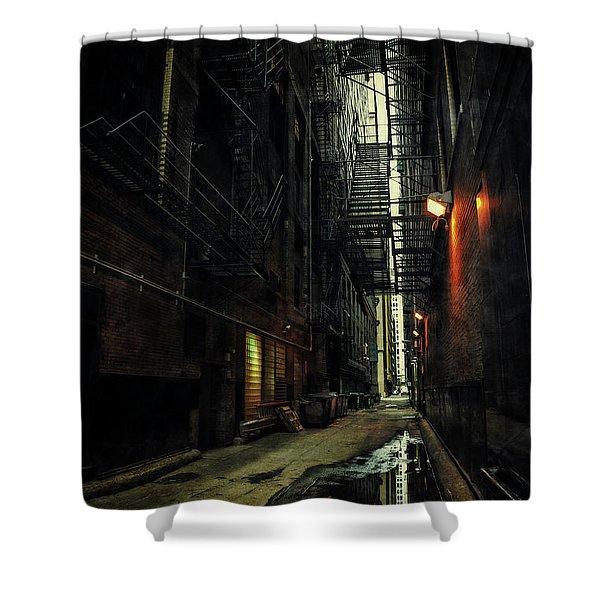 Dark Chicago Alley Shower Curtain