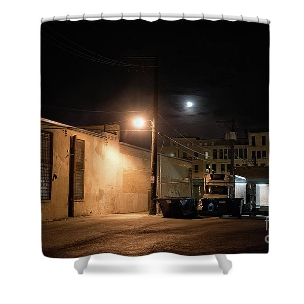 Dark Chicago City Alley At Night With The Moon Shower Curtain