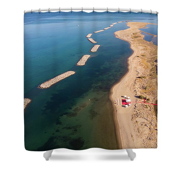 Dashed Line Shower Curtain