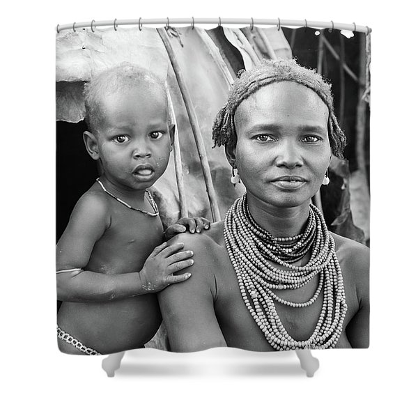 Dassanech Mother And Baby 2 Shower Curtain