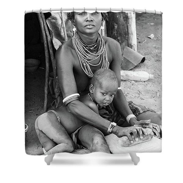 Dassanech Mother And Child Shower Curtain