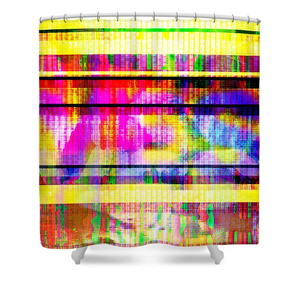 Shower Curtain featuring the digital art Databending #2 Hidden Messages by Bee-Bee Deigner