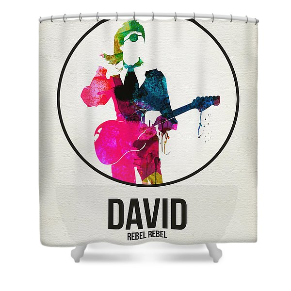 David Bowie Watercolor Shower Curtain