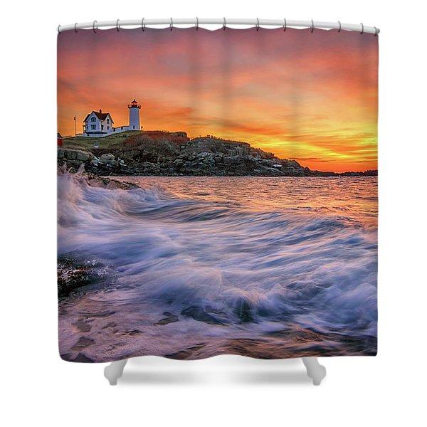 Dawn At Cape Neddick Lighthouse Shower Curtain