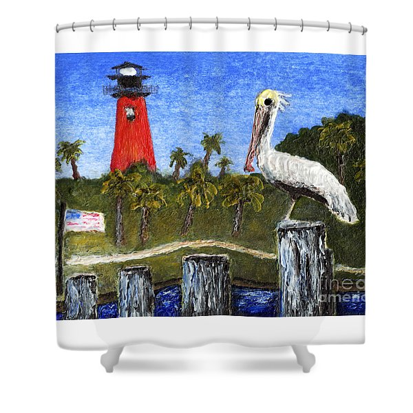 Aceo Dawn At Jupiter Inlet Lighthouse Florida 52a Shower Curtain