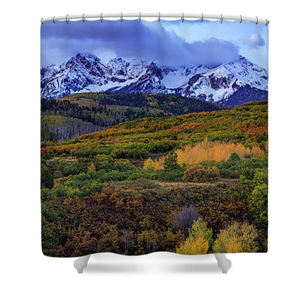 Dawn At The Dallas Divide Panoramic Shower Curtain