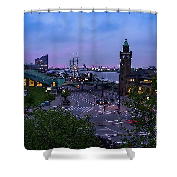 Dawn Over The Port And City Hamburg Panorama Shower Curtain