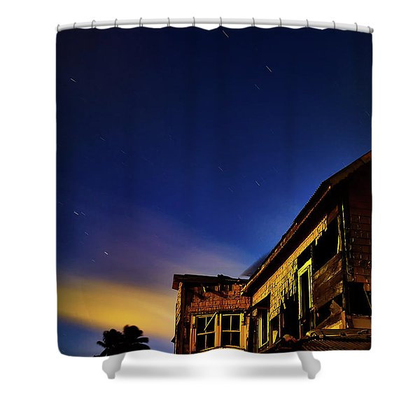 Decaying House In The Moonlight Shower Curtain
