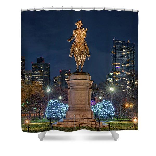 December Evening In Boston's Public Garden Shower Curtain