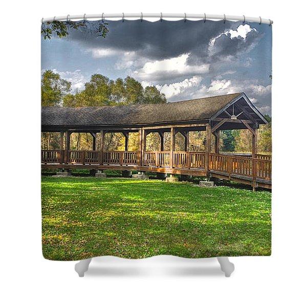 Deck At Pickerington Ponds Shower Curtain