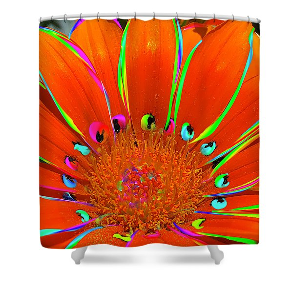Deep Coral Bloom  Shower Curtain