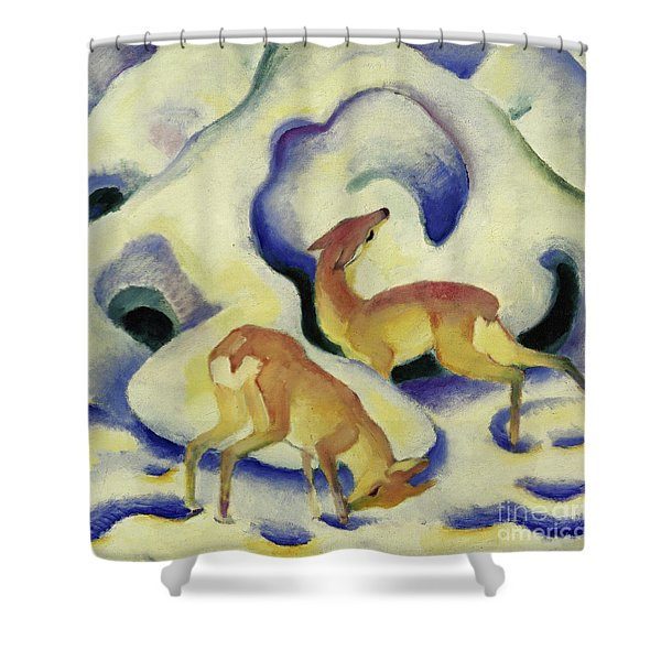 Deer In The Snow, 1911 Shower Curtain