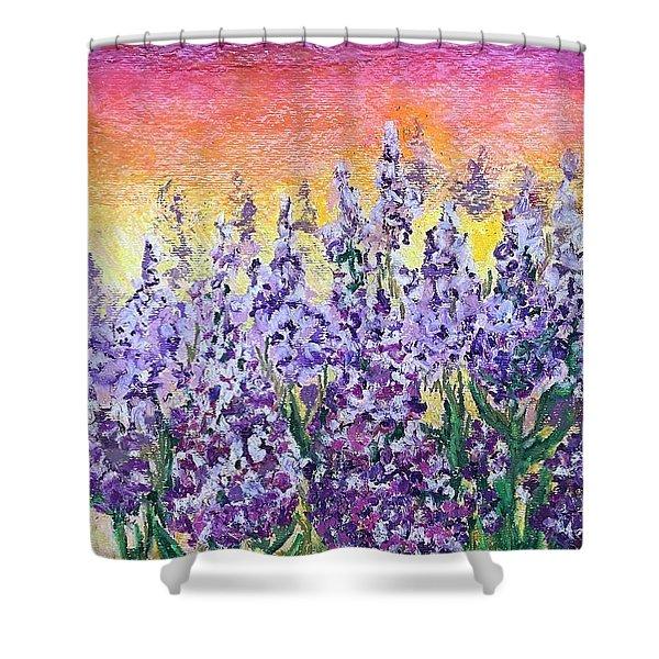 Delphiniums Shower Curtain