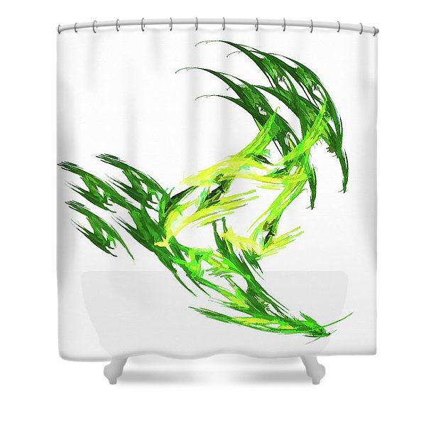 Deluxe Throwing Star Green Shower Curtain